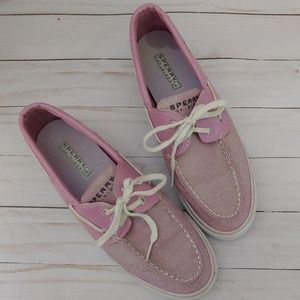 Sperry top-sider pink sparkle boat shoes